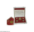 Colombia: , Colombia: Republic gold Proof Set 1968, KM-PS1, the five coin setconsisting of : KM231-235, 100, 200, 300, 500 and 1500 Pesos,commem... (Total: 5 coins Item)