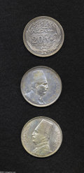 Egypt: , Egypt: Trio of Crowns, KM321 20 Piastres 1917, toned AU, KM338 20Piastres 1923, toned XF-AU, and KM352 20 Piastres 1929-BP, toned... (Total: 3 coins Item)