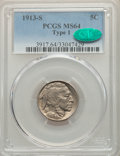 Buffalo Nickels, 1913-S 5C Type One MS64 PCGS. CAC. PCGS Population: (948/641). NGC Census: (486/296). CDN: $200 Whsle. Bid for problem-free...