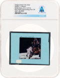 Explorers, Apollo 11 Original NASA Glass Film Slide, an Image of Buzz Aldrin Descending from Lunar Module, Directly From The Armstron...