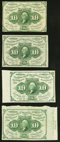 Fractional Currency:First Issue, Fr. 1242 10¢ First Issue Four Examples.. ... (Total: 4 notes)