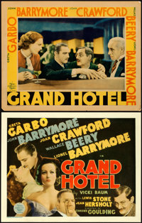 "Grand Hotel (MGM, 1932). Fine. Title Lobby Card & Lobby Card (11"" X 14""). ... (Total: 2 Items)"