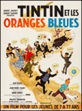 """Movie Posters:Foreign, Tintin and the Blue Oranges (Pathe Consortium Cinema, 1964). Very Fine on Linen. French Moyenne (23"""" X 31.25"""") Herge Artwork..."""