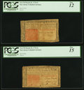 Colonial Notes:New Jersey, New Jersey March 25, 1776 6s Two Examples PCGS Graded Fine 12; Fine15.. ... (Total: 2 notes)