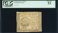 Continental Currency September 26, 1778 $50 PCGS About New 53