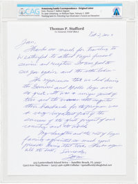 Tom Stafford 2009-dated Autograph Letter Signed to Janet Armstrong Regarding Astronaut Wives, Directly From The Armstron...