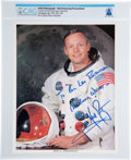 Explorers:Space Exploration, Neil Armstrong Signed and Inscribed White Spacesuit Color Photo Directly From The Armstrong Family Collection™, CAG Certified....