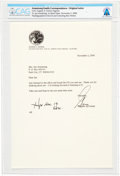 Explorers:Space Exploration, Gene Cernan 2000-dated Typed Letter Signed to Janet Armstrong Directly From The Armstrong Family Collection™, CAG Certifie...