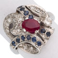 Estate Jewelry:Rings, Burma Ruby, Diamond, Sapphire, White Gold Ring. ...