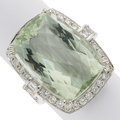 Estate Jewelry:Rings, Prasiolite, Diamond, White Gold Ring. ...