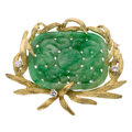 Estate Jewelry:Brooches - Pins, Jadeite Jade, Diamond, Gold Brooch. ...