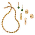 Estate Jewelry:Lots, Nephrite Jade, Gold Jewelry . ... (Total: 4 Items)