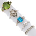 Estate Jewelry:Rings, Diamond, Peridot, Topaz, Gold Rings. ... (Total: 5 Items)