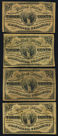 Four Fr. 1226 3¢ Third Issue Notes Very Fine or Better. ... (Total: 4 notes)