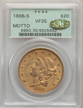 Liberty Double Eagles, 1866-S $20 Motto VF35 PCGS. Gold CAC....