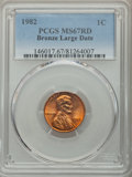 Lincoln Cents, 1982 1C Bronze, Large Date, MS67 Red PCGS. PCGS Population: (58/0).CDN: $80 Whsle. Bid for problem-free...