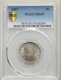 Liberty Nickels, 1897 5C MS65 PCGS Gold Shield. PCGS Population: (91/25). NGC Census: (59/6). CDN: $500 Whsle. Bid for problem-free NGC/PCGS...