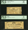 Obsoletes By State:Virginia, Lexington, VA- County of Rockbridge 15¢ Feb. 2, 1863 PCGS ApparentVery Fine 25;. Lynchburg, VA- City of Lynchburg 9... (Total: 2notes)