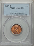 Lincoln Cents, 1917-D 1C MS64 Red PCGS. PCGS Population: (152/55). NGC Census: (33/19). CDN: $600 Whsle. Bid for problem-free NGC/PCGS MS6...