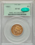 Three Dollar Gold Pieces, 1861 $3 XF40 PCGS. CAC....
