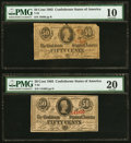 Confederate Notes:1863 Issues, T63 50 Cents 1863 PF-7, PF-13 PMG Very Good 10, PMG Very Fine 20.. ... (Total: 2 notes)
