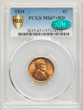 1934 1C MS67+ Red PCGS Gold Shield. CAC. PCGS Population: (388/27). NGC Census: (448/6). CDN: $150 Whsle. Bid for proble...