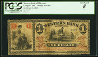 St. Joseph, MO- Western Bank of Missouri at Glasgow Branch $1 July 1, 1861 G38a PCGS Very Good 8