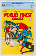 Golden Age (1938-1955):Superhero, World's Finest Comics #17 (DC, 1945) CBCS FN+ 6.5 Off-white to white pages....