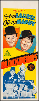 "Block-Heads (MGM, 1938). Very Fine- on Linen. Australian Pre-War Daybill (15.25"" X 40""). Comedy"