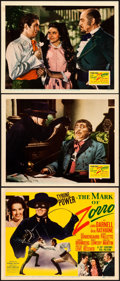 "Movie Posters:Swashbuckler, The Mark of Zorro (20th Century Fox, 1940). Very Fine-. Title Lobby Card & Lobby Cards (2) (11"" X 14"").. ... (Total: 3 Items)"