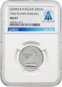 Gemini 8 Flown MS63 NGC Silver Fliteline Medallion Directly From The Armstrong Family Collection™, CAG Certified