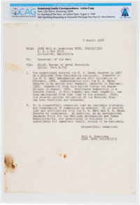 Neil Armstrong's 1960 Letter (Carbon) to the Secretary of the Navy Asking for an Honorable Discharge, Directly from The...