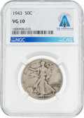 Explorers:Space Exploration, Coins: 1943 50¢ VG10 NGC Walking Liberty Half Dollar Directly From The Armstrong Family Collection™, CAG Certified....