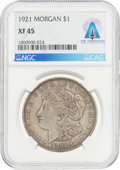 Explorers:Space Exploration, Coins: 1921 $1 XF45 NGC Morgan Silver Dollar Directly From The Armstrong Family Collection™, CAG Certified....