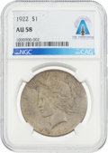 Explorers:Space Exploration, Coins: 1922 $1 AU58 NGC Peace Silver Dollar Directly From The Armstrong Family Collection™, CAG Certified. ...