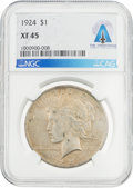 Explorers, Coins: 1924 $1 XF45 NGC Peace Silver Dollar Directly From The Armstrong Family Collection™, CAG Certified. ...