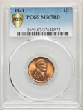Lincoln Cents, 1941 1C MS67 Red PCGS Gold Shield. PCGS Population: (286/1). NGC Census: (841/0). CDN: $130 Whsle. Bid for problem-free NGC...