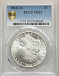 Morgan Dollars, 1882-CC $1 MS65 PCGS Gold Shield. PCGS Population: (5740/1594). NGCCensus: (2828/664). CDN: $360 Whsle. Bid for problem-fr...