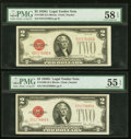 Fr. 1508 $2 1928G Legal Tender Notes. Two Examples. PMG Graded About Uncirculated 55 EPQ; Choice About Unc 58 EPQ. ... (...