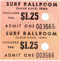 Buddy Holly/Ritchie Valens/The Big Bopper Final Show Surf Ballroom Ticket Stubs (1959)