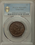 Large Cents, 1857 1C Large Date MS64 Brown PCGS Secure. PCGS Population: (59/12 and 4/0+). NGC Census: (70/16 and 0/0+). CDN: $700 Whsle...