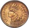Indian Cents, 1897 1C Repunched Date, Snow-8, FS-402, MS67+ Red PCGS. CAC....