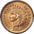 Indian Cents, 1868 1C MS66+ Red PCGS. CAC. Snow-8....