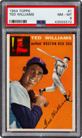Baseball Cards:Singles (1950-1959), 1954 Topps Ted Williams #1 PSA NM-MT 8....