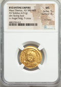 Ancients:Byzantine, Ancients: Maurice Tiberius (AD 582-602). AV solidus (22mm, 4.51 gm, 7h). NGC MS 5/5 - 4/5, lt. marks....