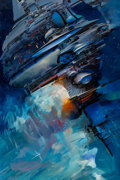 Mainstream Illustration, John Conrad Berkey (American, 1932-2008). Space Station. Acrylic and casein on board. 30 x 20 in.. Signed lower right. ...