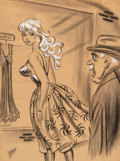 Works on Paper, Bill Ward (American, 1919-1998). I Guess You're Right Miss Mallow, Men's magazine cartoon. Charcoal and gouache on paper...