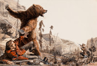 Mort Künstler (American, b. 1931) Grizzly Attack, Male magazine interior illustration, May 1970 Goua