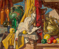 Dean Cornwell (American, 1892-1960) Still Life, 1959 Oil on canvasboard 15 x 22 in. Signed low