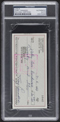 Autographs:Checks, 1988 Tony Canadeo Signed Check, PSA/DNA Authentic....